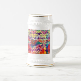 Live Laugh Love Abstract Textured Plaid Pattern Beer Stein