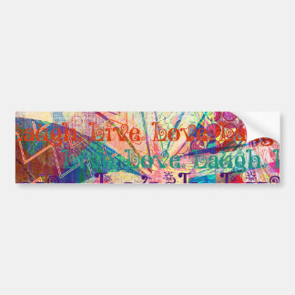 Live Laugh Love Abstract Textured Plaid Pattern Bumper Sticker