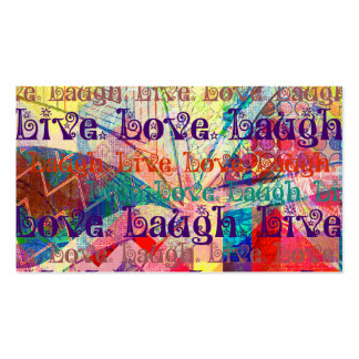 Live Laugh Love Abstract Textured Plaid Pattern Business Card