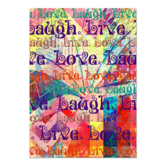 Live Laugh Love Abstract Textured Plaid Pattern Card