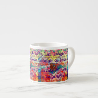 Live Laugh Love Abstract Textured Plaid Pattern Espresso Cup