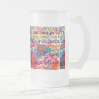 Live Laugh Love Abstract Textured Plaid Pattern Frosted Glass Beer Mug