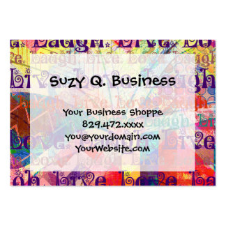 Live Laugh Love Abstract Textured Plaid Pattern Large Business Card