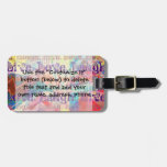 Live Laugh Love Abstract Textured Plaid Pattern Luggage Tag