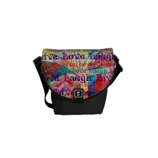 Live Laugh Love Abstract Textured Plaid Pattern Courier Bag