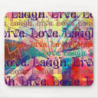 Live Laugh Love Abstract Textured Plaid Pattern Mouse Pad