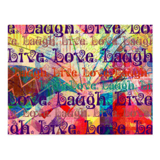Live Laugh Love Abstract Textured Plaid Pattern Postcard