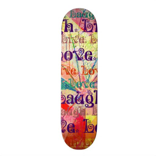 Live Laugh Love Abstract Textured Plaid Pattern Custom Skateboard
