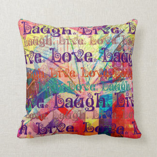 Live Laugh Love Abstract Textured Plaid Pattern Throw Pillow
