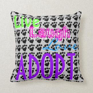 Live Laugh Love ADOPT Throw Pillow Template