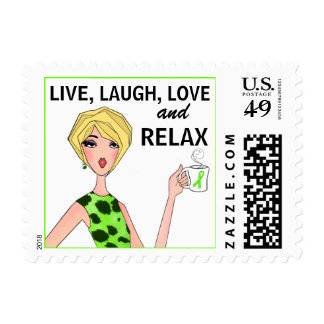 LIVE, LAUGH, LOVE and RELAX / Diva Lime Stamp