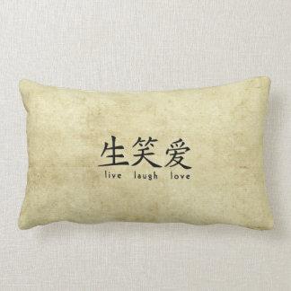 Live Laugh Love Asian Character Design Lumbar Pillow