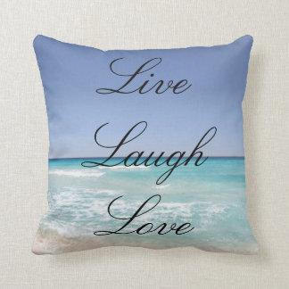 Live Laugh Love Beach Ocean Throw Pillow