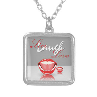 Live Laugh Love Big Mouth Square Necklace