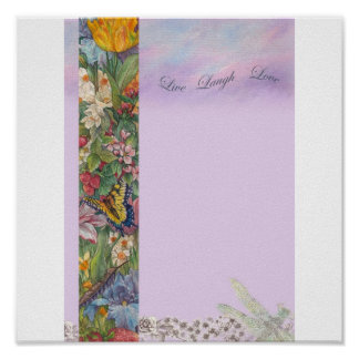 Live Laugh Love Botanical Butterfly Poster