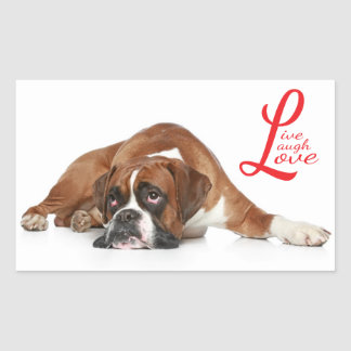 Live, laugh, Love Boxer Puppy Dog Greeting Sticker
