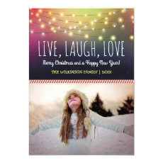 Live, Laugh, Love Christmas Photo | Jolly Holiday Flat Cards