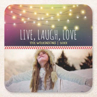 Live, Laugh, Love Christmas Photo | Jolly Holiday Square Paper Coaster