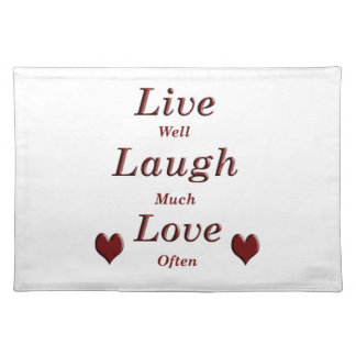 Live Laugh Love Cloth Placemat