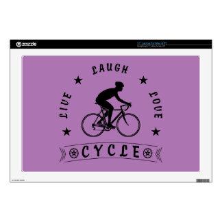 Live Laugh Love Cycle (blk text) Laptop Decals