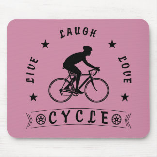 Live Laugh Love Cycle (blk text) Mouse Pad