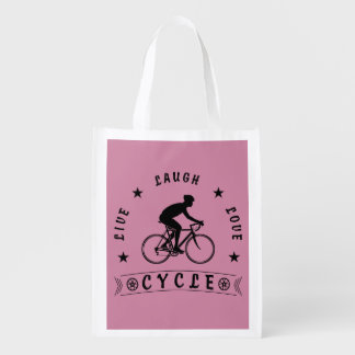 Live Laugh Love Cycle (blk text) Reusable Grocery Bag