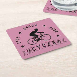 Live Laugh Love Cycle (blk text) Square Paper Coaster