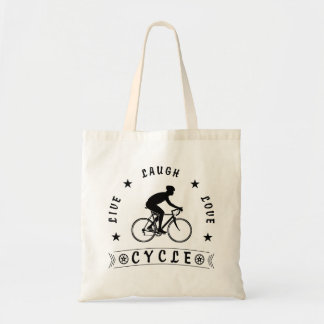 Live Laugh Love Cycle (blk text) Tote Bag