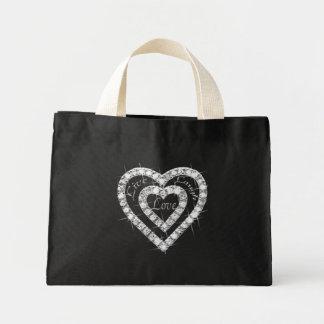 Live Laugh Love Diamond Heart Tote Bag