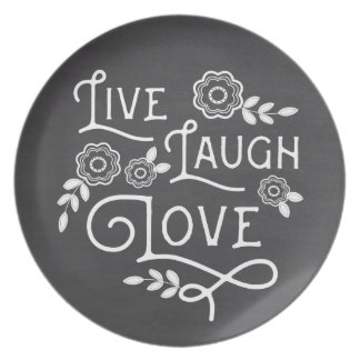 Live Laugh Love Dinner Plate - Chalkboard Style