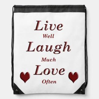 Live Laugh Love Drawstring Bag