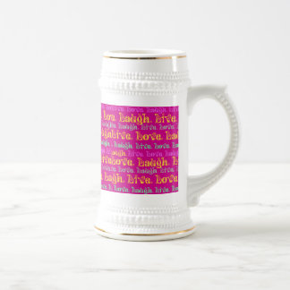 Live Laugh Love Encouraging Words Hot Pink Fuchsia Beer Stein