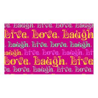 Live Laugh Love Encouraging Words Hot Pink Fuchsia Business Card