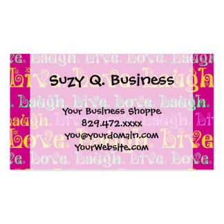 Live Laugh Love Encouraging Words Hot Pink Fuchsia Business Card Template