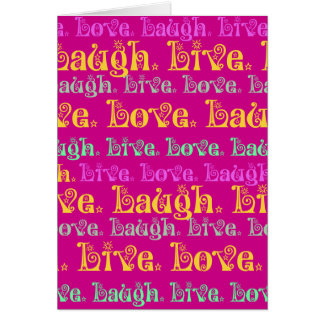 Live Laugh Love Encouraging Words Hot Pink Fuchsia Greeting Card