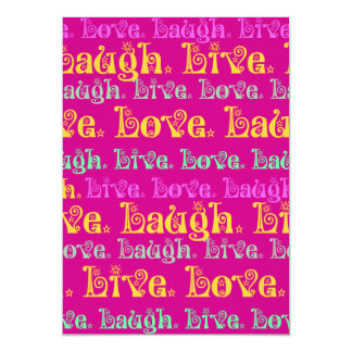 Live Laugh Love Encouraging Words Hot Pink Fuchsia Card