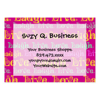 Live Laugh Love Encouraging Words Hot Pink Fuchsia Large Business Card