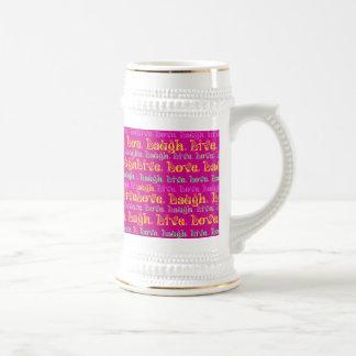 Live Laugh Love Encouraging Words Hot Pink Fuchsia Coffee Mug