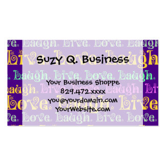 Live Laugh Love Encouraging Words Purple Girly Business Card
