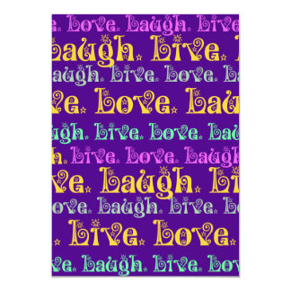 Live Laugh Love Encouraging Words Purple Girly Card