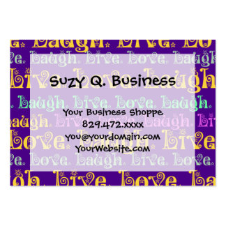 Live Laugh Love Encouraging Words Purple Girly Large Business Card