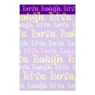 Live Laugh Love Encouraging Words Purple Girly Stationery