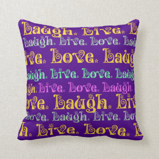 Live Laugh Love Encouraging Words Purple Girly Throw Pillow