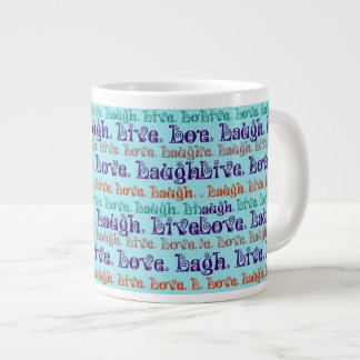 Live Laugh Love Encouraging Words Teal Blue 20 Oz Large Ceramic Coffee Mug