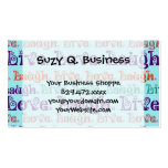 Live Laugh Love Encouraging Words Teal Blue Business Cards