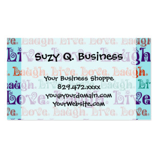 Live Laugh Love Encouraging Words Teal Blue Business Card