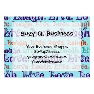 Live Laugh Love Encouraging Words Teal Blue Large Business Card