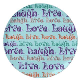 Live Laugh Love Encouraging Words Teal Blue Melamine Plate