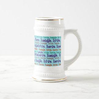 Live Laugh Love Encouraging Words Teal Blue Coffee Mug