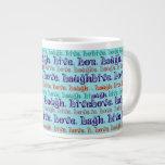 Live Laugh Love Encouraging Words Teal Blue Extra Large Mug
